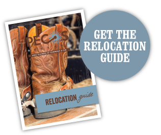 An image of the Pecos Relocation Guide, which has a pair of boots with Pecos Relocation Guide written over it.