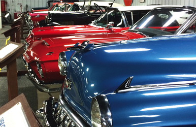 Red and blue classic cars